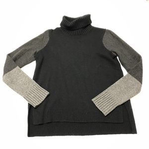 Vince Tri Color Block Wool Cashmere Turtleneck Swe